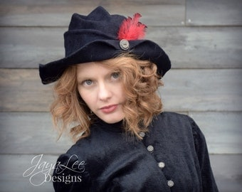 Black Felt Hat, Distressed Fedora, Bohemian Cowboy Hat