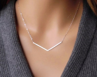 Sterling Silver Chevron Necklace, Silver V Necklace, Chevron V Design Necklace, Hammered Silver, Silver Bar Necklace