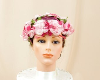 50s Floral Hat * Vintage Floral Hat * Pink Fascinator Hat * Pink Hat * Church Hat * Wedding Hat * 50s Hat * 1950s Hat * Mad Men Hat