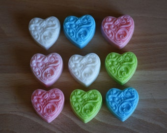 20 Heart Soaps, Heart, Glycerin Soap, Soap, Party Favor Soap, Bunny Soap, Wedding Favor Soap, Wedding Shower Soap, Bath and Body, Guest Soap