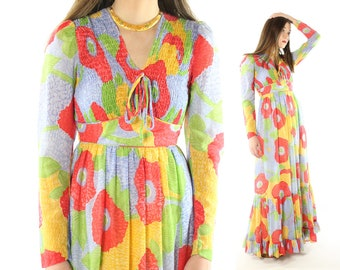 Vintage 70s Floral Maxi Dress Candi Jones Long Sleeves Smocked Ruffled 1970s XS Small S Hippie Boho Spring Festival