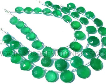 Green Onyx Faceted Coin Semiprecious Gemstone Beads, (Quality AAA) / 9 to 11.5 mm / 18 cm / GR-099