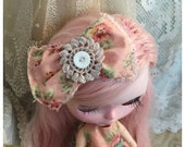 Blythe doll hair bow vintage pink floral fabric Handmade vintage style handmade by Olive Grove Primitives