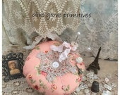 Round pin cushion vintage style with a doily trim floral pink fabric made by Olive Grove Primitives