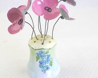 Lovely Vintage Shaker Full of Pink  Forever Blooming Flowers