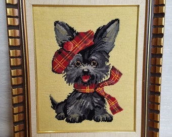 Vintage 1973 Jean McIntosh MacTavish Scottish Dog Terrier Framed Cross Stitch