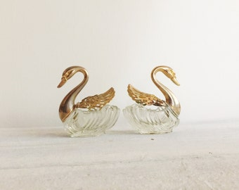Vintage brass and glass swans, ring dish, incense holder, statues, trinkets, 70s, boho, bohemian
