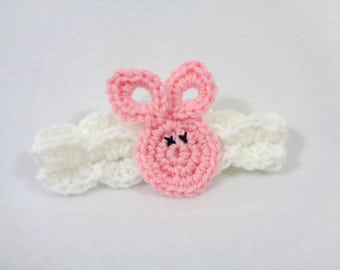 Pink Bunny Headband, Bunny Rabbit Brooch Pin, Easter Present, Easter Basket Gift, Rabbit Hairclip, Crochet Bunny Rabbit Applique by Charlene