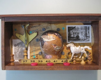 Mixed media assemblage, 3D art, found object art, vintage funky junk