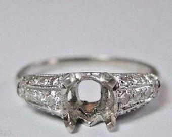 Antique Vintage Art Deco Diamond Platinum Engagement Ring Setting | Will Hold 5.5-6MM | ES- 140