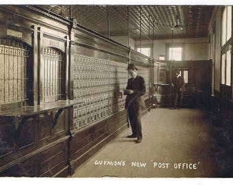 """Got Mail? - Guymon, OK """"New"""" Post Office - Circa 1910 - Woodwork - Tin Ceilng - Post Office Boxes - Great Details - Texas County, Oklahoma!"""
