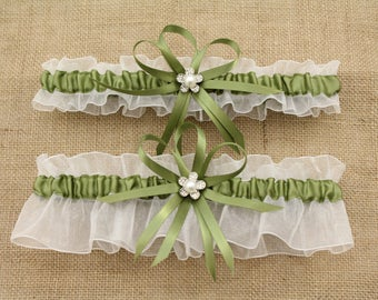 Sage Green and White Wedding Garter Set with Charms, Bridal Garter, Prom Garter  (Your Choice, Single or Set)