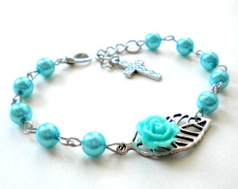 Baby Girl Baptism Gift Christening Bracelet Catholic Baby Bracelet Baptism Jewelry For Girls Turquoise Pearl Bracelet Baptism Gift Girl