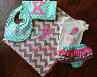 Personalized Layette Set- Ruffled diaper cover set- Personalized Gift Set- Baby Shower Set