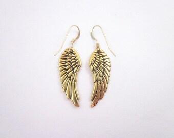 Winged Earrings -- Wing Dangles -- Wing Charm Earrings -- Gold Angel Earrings -- Gold Wing Dangles -- Gold Angel Wing Earrings -- Dangles