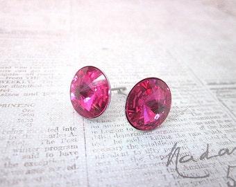 Fuchsia Posts -- Fuchsia Swarovski Earrings -- Swarovski Studs -- Fuchsia Studs -- Fuchsia Crystal Earrings -- Fuchsia Earrings --Pink Posts