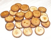 "25 Handmade apple wood Tree Branch Buttons with Bark, accessories (0,87'' diameter x 0,20"" thick)"
