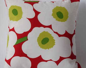 "One of a kind Marimekko Pillow Case ,Double-sided,Patterns: Unikko and Solid Off White, 16""x16""(40x40cm)"