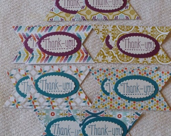 1 Dozen Handmade Thank You with Hearts Tags, Retired Sycamore Street DSP by Stampin' Up!