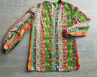Vintage 60s 70s Psychedelic Handmade TUNIC Mini Dress (s)