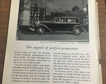 1932 Lincoln car ad lincoln v-8 cylinder two window sedan.