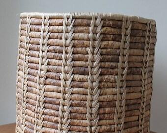 Vintage Large Size Hand Woven Basket Cylinder Shape, Natural, Boho Chic, Bohemian, Indoor Planter