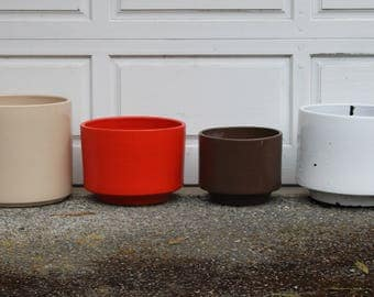 Vintage Gainey Architectural Planter, Cylinder Pot, Orange or Brown, Modernist, Mid Century Modern