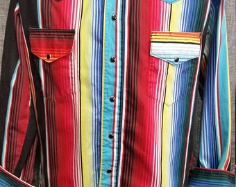 Mens Vintage Western Shirt Mexican Blanket Print AMAZING