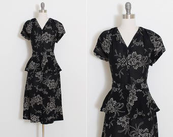 Vintage 40s Dress | vintage 1940s dress | painted floral stencil | m/l | 5902