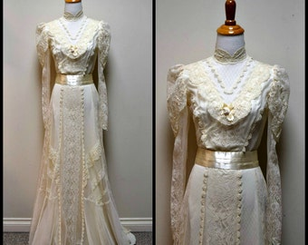 Vintage COUNTRY ELEGANCE Ivory Victorian Steampunk Downton Abbey Lace Wedding Dress XS