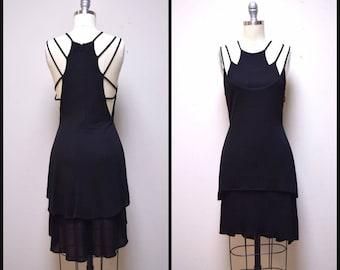 Vintage DESIGNER Little Black Dress w Spaghetti Spider Straps Rayon Knit Size 8