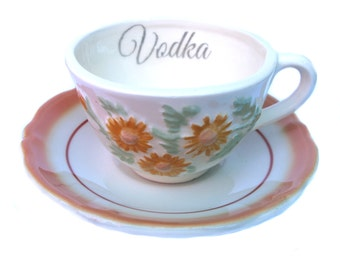 Sale - Damaged - Vodka Altered Vintage Teacup and Saucer
