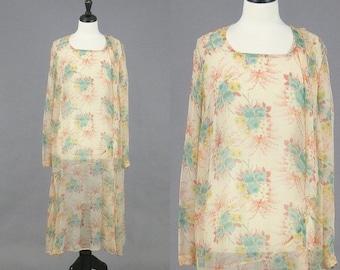 SALE 1920s 30s Dress, 20s Dress, Sheer 1930s Floral Dress, XL Plus Size
