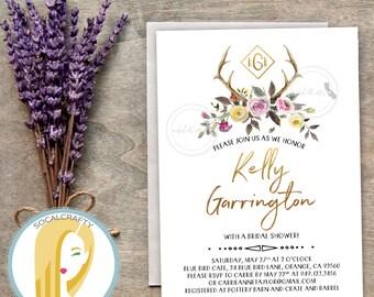 Bohemian Bridal Shower Invitation, Boho Invite, Watercolor, Antler, Floral, Rustic, Pink Yellow Green, DIY, Printed or Printable Invites