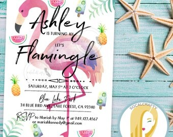 Flamingle Birthday Party Invitation, Flamingo Invite, Watermelon, Pineapple, Watercolor, Printed or Printable Invitations, Free Shipping