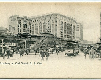 Broadway 33rd Street Streetcar Elevated Railroad New York City NYC 1910c postcard