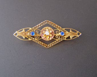Vintage Art Deco Era Brooch, Antique 14K Yellow Gold Pin,  Blue Clear Stone Brooch, Vintage Flower Brooch, Filigree Brooch