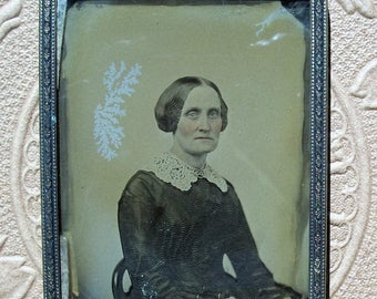 Ambrotype of Victorian Lady - Framed in Brass