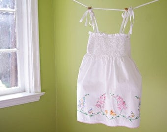 Girls S (3t/4t) Smocked Vintage Pillowcase Sundress- Little Girls Hand Embroidered Flwed Butterflies Dress- White & Pink