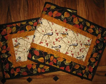 "Mountain Chickadees Table Runner, Quilted, 13 x 48"", Reversible Fall Autumn Leaves Free Shipping"