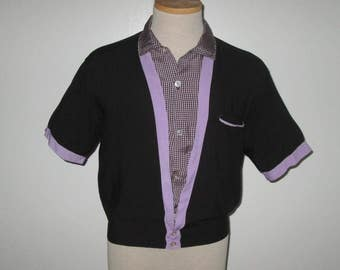 Vintage 1950s Shirt / 50s Black And Purple Shirt / 50s Black Gingham Checked Shirt By Clubman Sportswear- S, M