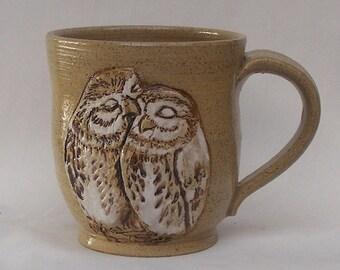 Stoneware Kissing Owls Mug, Hand Painted Owl Mug No. 2