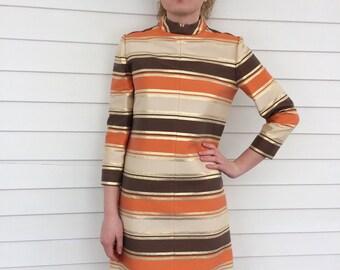 Striped Mod Dress Gold Orange Brown 70s Vintage Retro Johnnye S