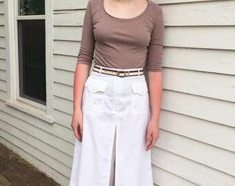 White Culottes Skort Skirt Cotton Blend Summer 28 Waist