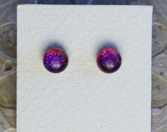 Dichroic Glass Earrings, Petite, Purple Candy DGE-996