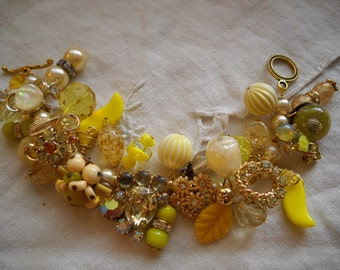 Chunky Yellow Charm Bracelet Reworked Vintage Earrings Beads Rhinestones FREE SHIPPING