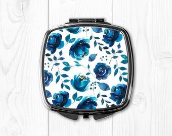 Blue Compact Mirror for Purse Mirror Pocket Mirror Grey Floral