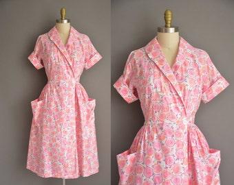 vintage 1950s dress . 50s pink floral cotton vintage dress