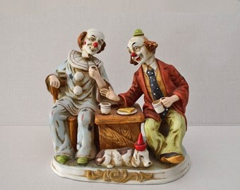 Vintage Porcelain Clown Figurine Two Seated Clowns Enjoying a Cup Of Coffee
