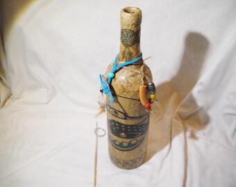 Altered Bottle Incense Burner Native American Themed